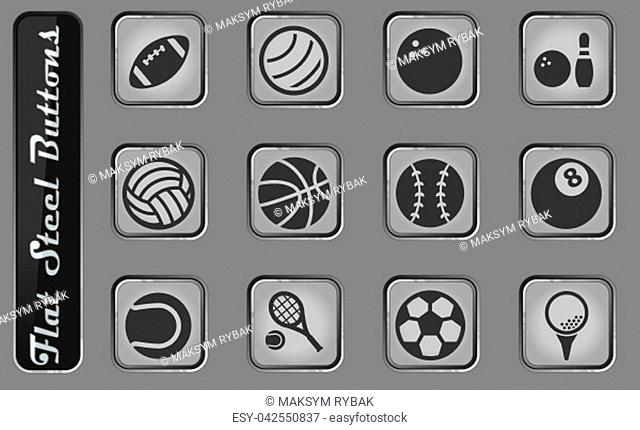 Sport balls vector web icons on the flat steel buttons