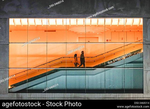 Tel Aviv, Israel People on an escalator in the HaBima theatre