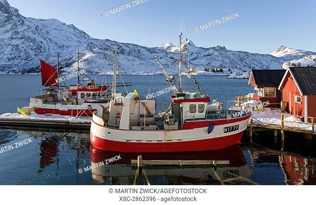 The harbour of Morkveden, Kakersund on the island Flakstadoya. The Lofoten Islands in northern Norway during winter. Europe, Scandinavia, Norway, February