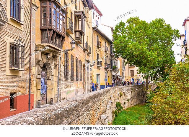 Carrera del Darro, lane of the Albaicin in Granada, Andalusia, Spain