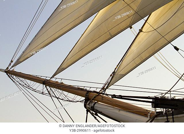 Detailed view of the foremast sails on the 'Star of India' at the San Diego Maritime Museum