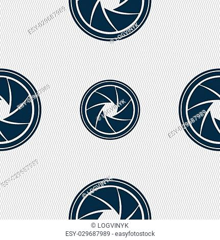 diaphragm icon. Aperture sign. Seamless abstract background with geometric shapes. Vector illustration
