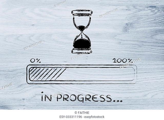 hourglass design and progress bar loading, pc process in progress