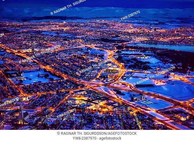 Aerial view of Reykjavik in the wintertime, Iceland