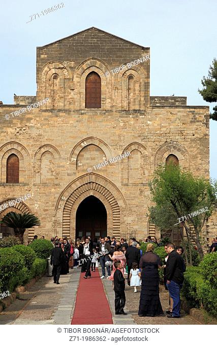 Italy, Sicily, Palermo, La Magione, church, people,