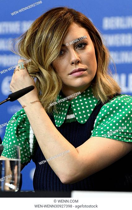 """Cast members and director attend a press conference for """"""""El Bar/The Bar"""""""" at the 67th International Berlin Film Festival (Berlinale) Featuring: Blanca Suárez..."""