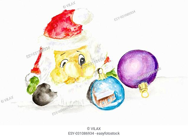 Santa Claus and New Year's balls- handmade watercolor painting illustration on a white rough surface paper art background