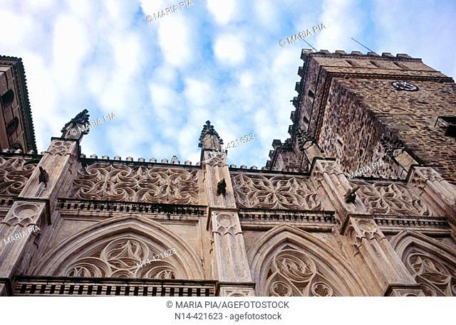 Detalle fachada principal (Sur) del Real Monasterio de Santa María de Guadalupe, Guadalupe, provincia de Cáceres. Extremadura. España