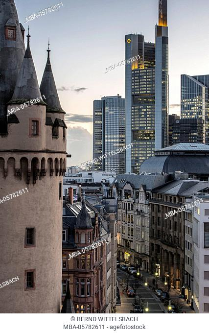 Frankfurt on the Main, Hessen, Germany, Europe, Eschenheim tower, late-medieval town gate of the Frankfurt city wall, background Commerzbank tower and...