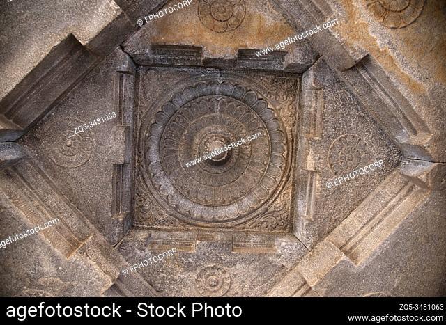 Carved ceiling of the temple, near the statue of Gommateshwara, Vindhyagiri Hill, Shravanabelagola, Karnataka, India