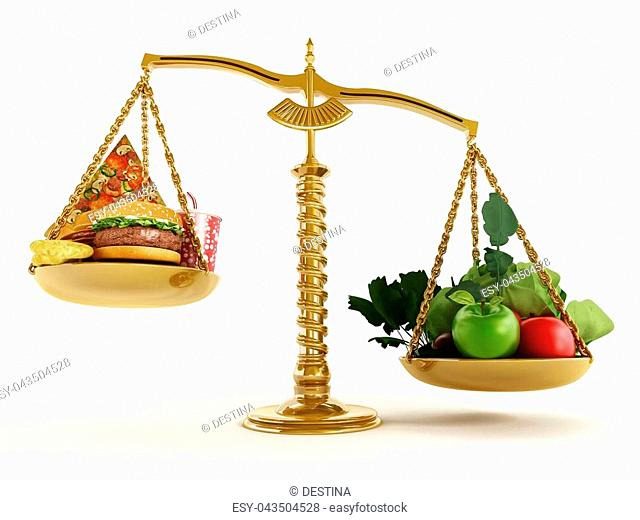 Healthy food and junk food in scales of a balanced scale. 3D illustration