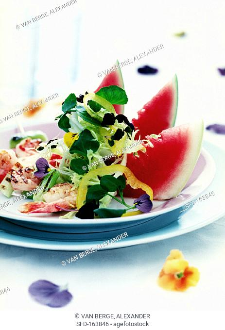 Mixed salad with shrimps and watermelon