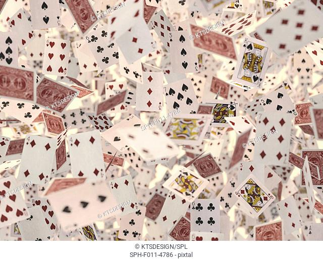 Playing cards, computer illustration