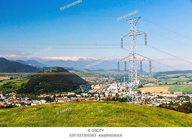 View of a electrical tower in Slovakia in summer 2015