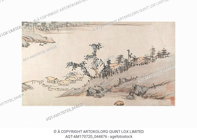 River Landscape, Ming (1368–1644) or Qing (1644–1911) dynasty, China, Handscroll; ink and color on paper, 12 7/8 in. × 24 ft. 7 1/2 in. (32