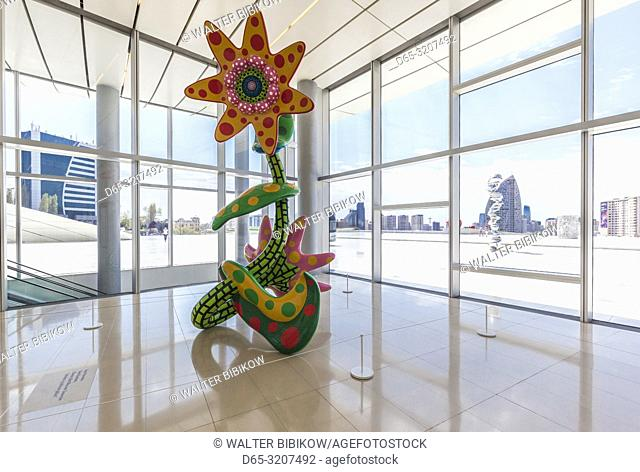 Azerbaijan, Baku, Heydar Aliyev Cultural Center, building designed by Zaha Hadid, Flowers That Bloom Tomorrow, sculpture by Yayoi Kusama, NR