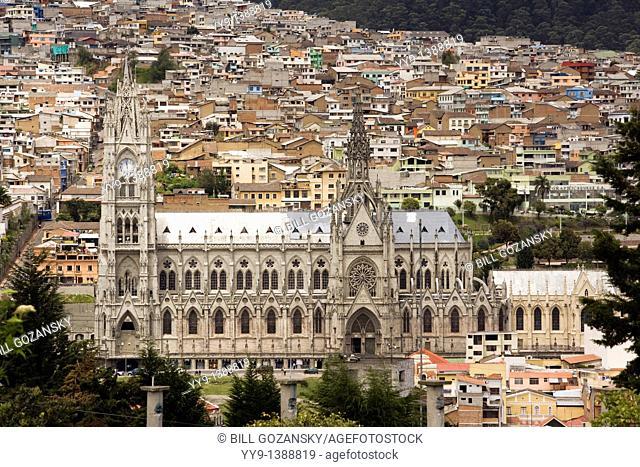 Basilica Del Voto Nacional viewed from Parque Itchimbia - Quito, Ecuador