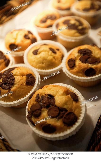 Chocolate muffin served for breakfast in a tray, Taksim, Marmara Region, Istanbul, Turkey, Europe