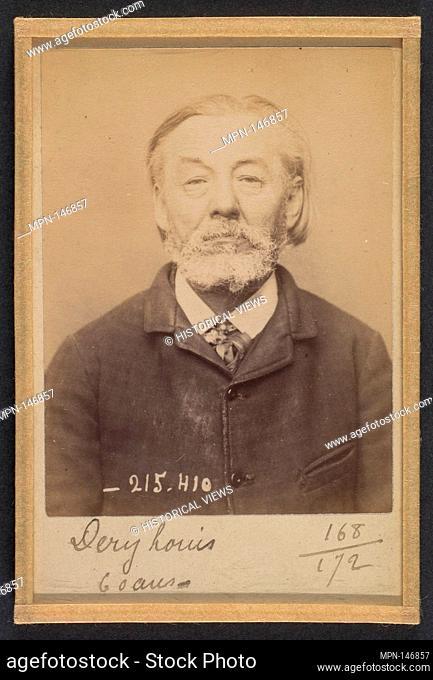 Dery. Louis. 60 ans, né à Cobugny (Nièvre). Cordonnier. Anarchiste. 9/3/94. Artist: Alphonse Bertillon (French, 1853-1914); Date: 1894; Medium: Albumen silver...