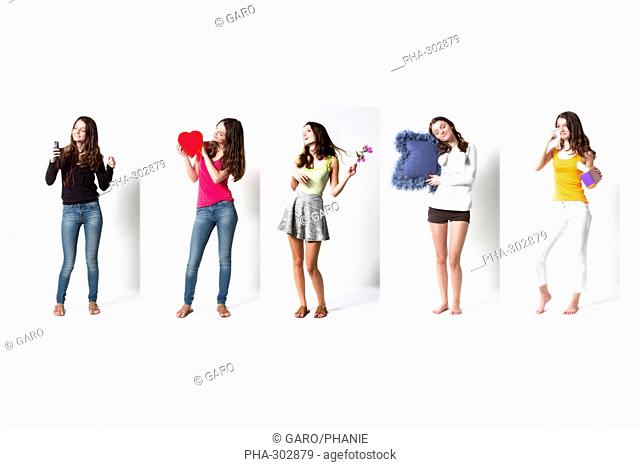 Composite image of a teenage girl in different situations