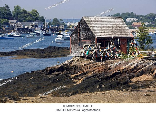 United States, Maine, Bath region, near Harpswell, lobsterman 's cabin