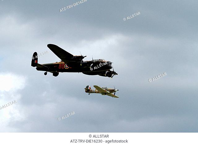 AVRO LANCASTER B1 PA474 & HAWKER HURRICANE LF363 MK IIC; BATTLE OF BRITAIN MEMORIAL FLIGHT; 02/07/2011