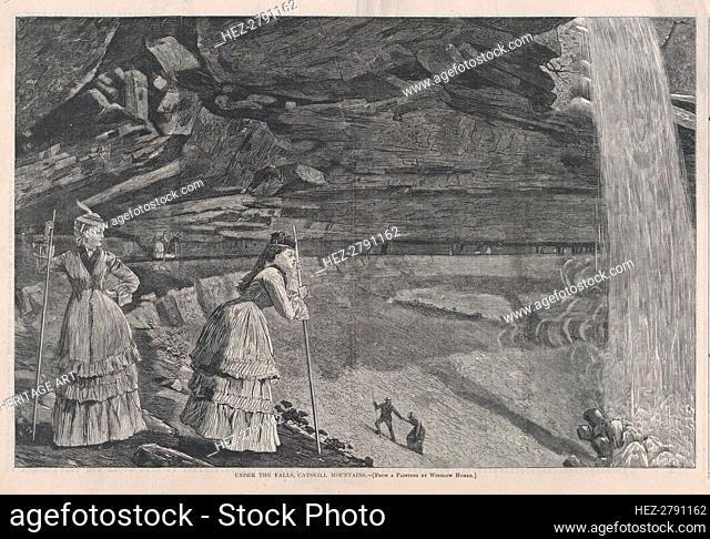 Under the Falls, Catskill Mountains (Harper's Weekly, Vol. XVI), September 14, 1878. Creator: Unknown