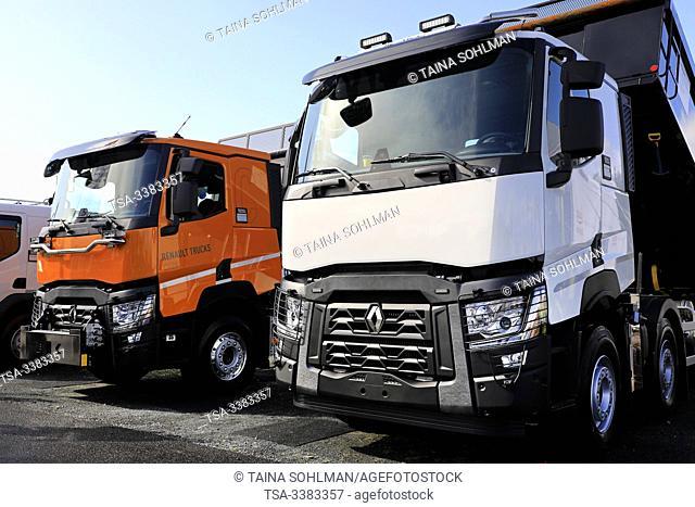 Hyvinkaa, Finland. September 6, 2019. Renault Trucks C520 multi axle heavy duty tipping trucks for earthmoving and construction on Maxpo 2019