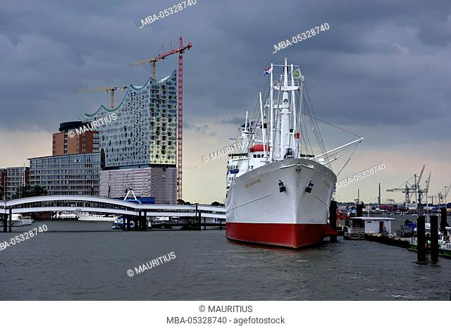Elbphilharmonie and ship Cap San Diego in the harbour of Hamburg, Germany, Europe