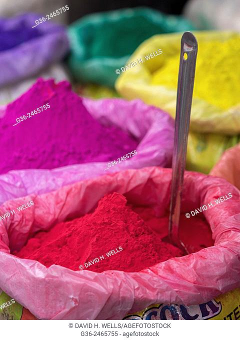 Holi powder paint for sale, the festival of colors, Udaipur, Rajasthan, India