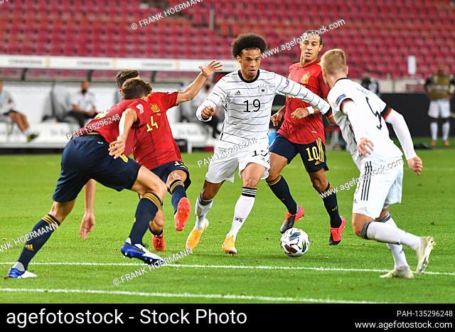 Leroy SANE (GER) action, duels versus Luis Jose GAYA (ESP), right: Timo WERNER (GER). Soccer Laenderspiel, UEFA Nations League Division A, 2020/2021, Group 4