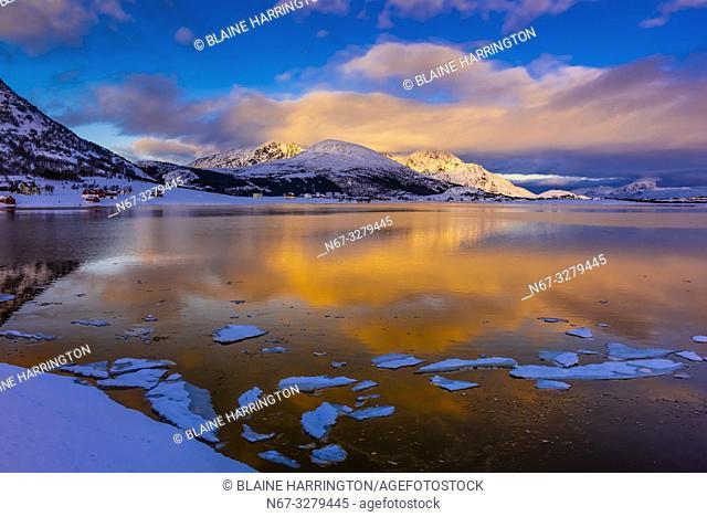 Winter landscape, Lofoten Islands, Arctic, Northern Norway