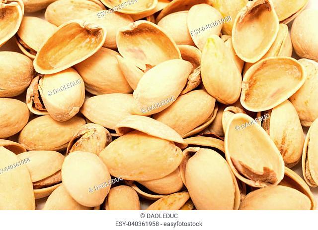 Pistachios empty shells background