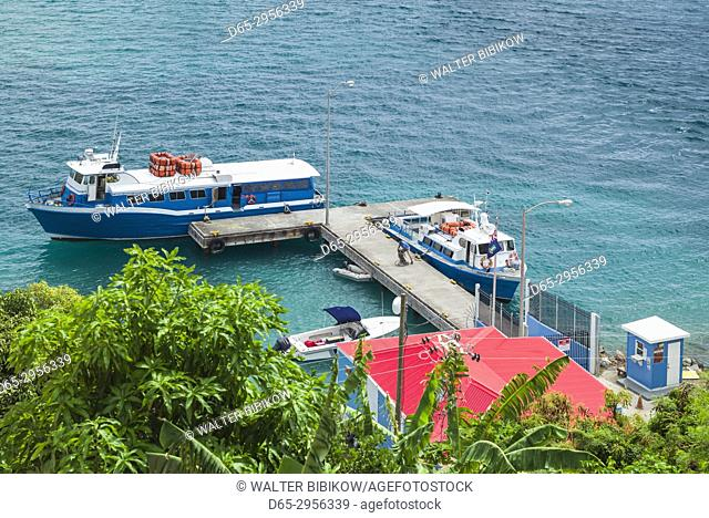 British Virgin Islands, Jost Van Dyke, Great Harbour, Tortola Ferry Pier, elevated view