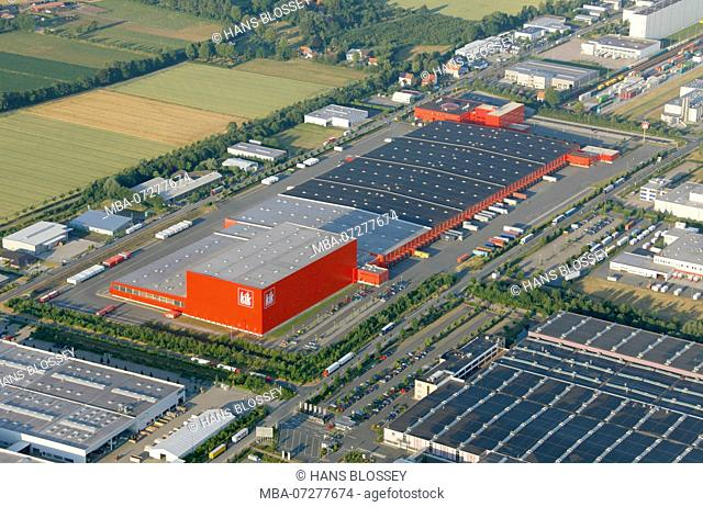 Aerial view, KIK, Discount Store, Wholesale, Business Park, Hamm, Ruhr Area, North Rhine-Westphalia, Germany, Europe