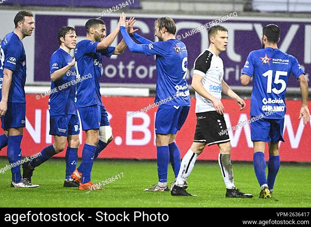 Gent's Tarik Tissoudali celebrates with his teammates after scoring the 2-0 goal during a soccer game between KAA Gent (1A first division) and KFC Heur-Tongeren...
