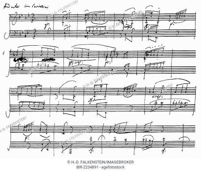 Handwritten sheet music, As Dur Sonata Op. 26 by Ludwig van Beethoven
