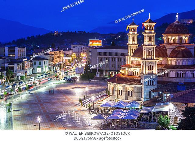 Albania, Korca, the Orthodox Cathedral, elevated view along the Boulevard Republika, dusk