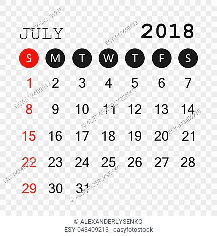 July 2018 calendar. Calendar planner design template. Week starts on Sunday. Business vector illustration