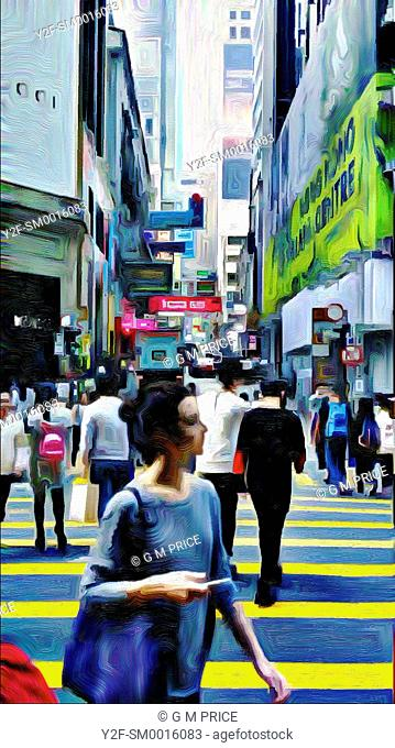 watercolour filter view of pedestrians and crossing in downtown Hong Kong