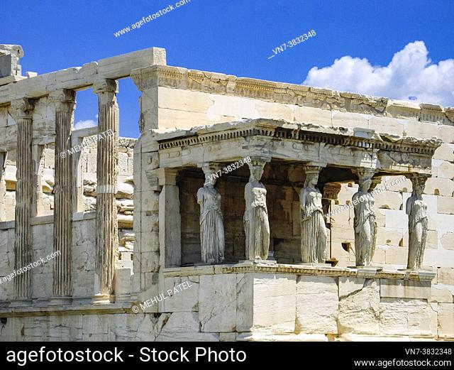 The Porch of Maidens on the south side of the temple of Erechtheion on the Acropolis - Athens, Greece