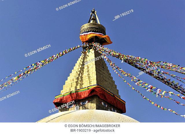 Boudha or Bodnath or Boudhanath Stupa, painted eyes, colorful prayer flags, Tibetan Buddhism, Kathmandu, Kathmandu Valley, UNESCO World Heritage Site, Nepal