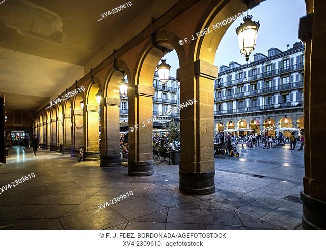 Constitución Square. Old town of San Sebastián by night. Donostia, Basque Country, Spain