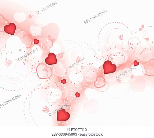 Valentines day vector background with blurry red hearts and spiral floral pattern. Design for your greeting card