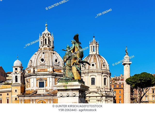 Santa Maria di Loretto in front and The Church of the Most Holy Name of Mary at the Trajan Forum behind, two churches twin churches in the historic center of...