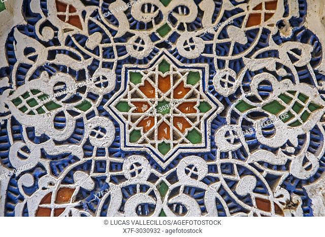 Detail, plaster ornamentation, courtyard of Zaouia (tomb) of Moulay Idriss II, medina, Fez. Morocco
