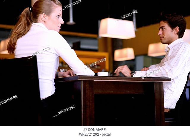 couple, young, beauty, waiting, sit, cafe, young a