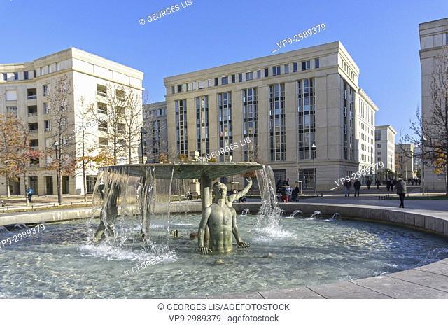 Fountain in Antigone district. Montpellier