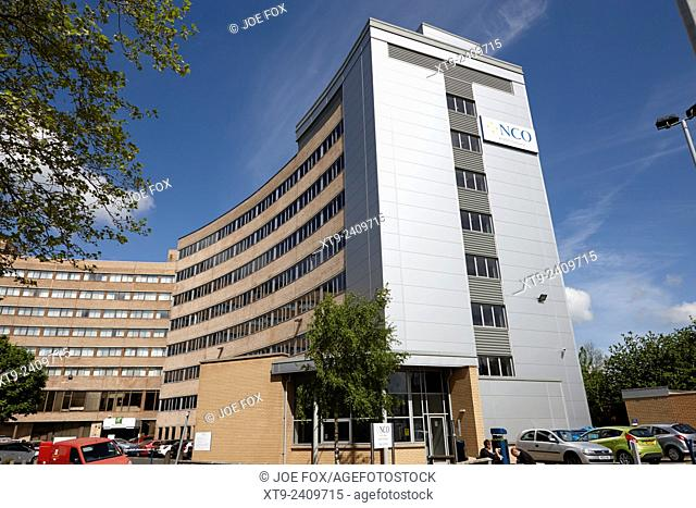 nco call centre in new city house 70s office building Preston England UK