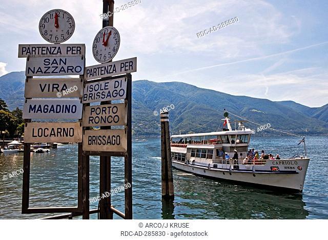 Landing stage, ship Capriolo, Lago Maggiore, Ascona, Locarno, Ticino, Switzerland